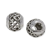 Open Weave Round Bead 13mm Pewter Antique Silver Plated (1-Pc)