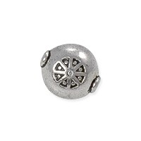 Patterned Bead 10mm Pewter Antique Silver Plated (1-Pc)