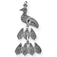 Peacock Pendant 56x26mm Pewter Antique Silver Plated (1-Pc)