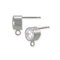Earring with 6mm Cubic Zirconia Stone Sterling Silver (1-Pc)