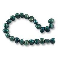 Freshwater Potato Pearl Nugget Dark Teal Green 7-8mm (16