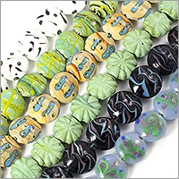 Colorful Puffy Lampwork Beads 17-20mm (Bulk Pack of 6 Strands)
