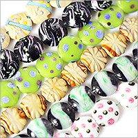 Colorful Puffy Lampwork Beads 18-20mm (Bulk Pack of 6 Strands)