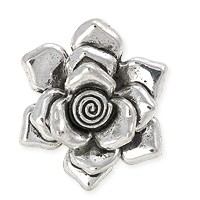 Rose Pendant 33mm Pewter Antique Silver Plated (1-Pc)