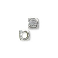 Rounded Cube Bead 3mm Nickel Silver (10-Pcs)