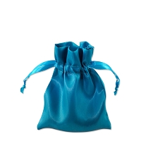 Satin Jewelry Pouch 3x4 Turquoise (10-Pcs)