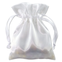 Satin Jewelry Pouch 4x5 White (10-Pcs)