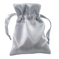 Satin Jewelry Pouch 4x5 Silver (10-Pcs)