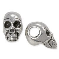 Large Hole Skull Bead 12x22mm Pewter Antique Silver Plated (1-Pc)