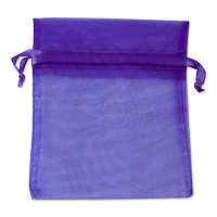 Organza Drawstring Bags 4x5 Purple (10-Pcs)
