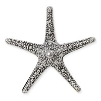 Starfish Pendant 37mm Pewter Antique Silver Plated (1-Pc)