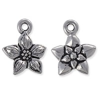TierraCast Charm - Star Jasmine 14mm Pewter Antique Silver Plated (1-Pc)