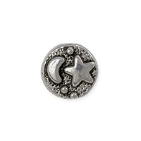 Sun Moon Star Bead 9x4mm Pewter Antique Silver Plated (1-Pc)