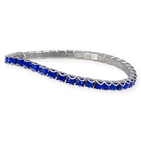 Swarovski Majestic Blue Rhodium Plated Catch Free 4mm Stretch Bracelet (1-Pc)