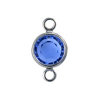 Swarovski Round Two-Loop Channel 6mm Sapphire Rhodium Plated (1-Pc)