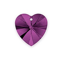 Swarovski Heart Crystal Pendant 6228 10mm Amethyst (1-Pc)