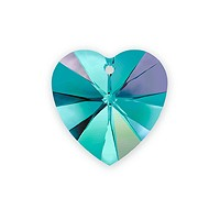Swarovski Crystal Heart Pendant 6228 10mm Blue Zircon AB (1-Pc)