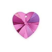 Swarovski Crystal Heart Pendant 6228 10mm Fuchsia AB (1-Pc)