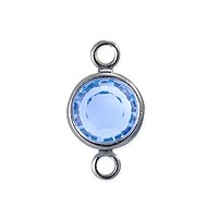 Swarovski Round Two-Loop Channel 6mm Light Sapphire Rhodium Plated (1-Pc)