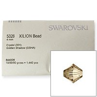 Swarovski 5328 4mm Crystal Golden Shadow Bicone Bead Factory Pack (1440 Pieces)