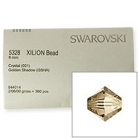 Swarovski 5328 6mm Crystal Golden Shadow Bicone Bead Factory Pack (360 Pieces)