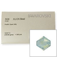 Swarovski 5328 6mm Pacific Opal Bicone Bead Factory Pack (360 Pieces)
