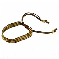 Tibetan Adjustable Bracelet Antique Brass and Brown Cording (1-Pc)