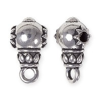 TierraCast Lotus Guru Bead with Bail 16x9mm Pewter Silver Plated (1-Pc)