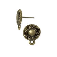 TierraCast Ethnic Earring Post - 14mm Antique Brass Oxide (1-Pc)