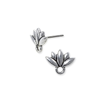 TierraCast Lotus Earring Post - 10mm Pewter Antique Silver Plated (1-Pc)