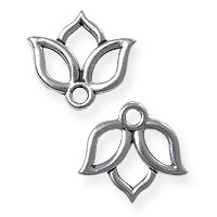TierraCast Open Lotus Charm - 13mm Antique Silver Plated (1-Pc)