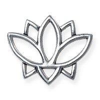 TierraCast Open Lotus Charm Link - 19mm Antique Silver Plated (1-Pc)