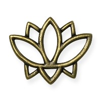 TierraCast Open Lotus Charm - 19mm Antique Brass Oxide (1-Pc)