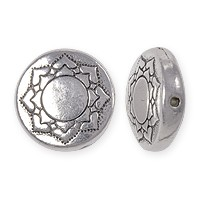 TierraCast Lotus Puffed Bead 14x4mm Pewter Antique Silver Plated (1-Pc)