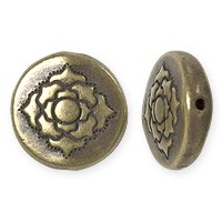 TierraCast Lotus Puffed Bead 14mm Pewter Brass Oxide (1-Pc)