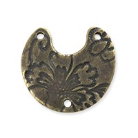 TierraCast Crescent Flora Link Pewter Antique Brass Oxide Plated 20mm (1-Pc)