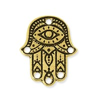 TierraCast Hamsa Link Pewter Antique Gold Plated 22x17.5mm (1-Pc)
