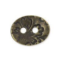 TierraCast Jardin Two-Hole Button 17.5mm Brass Oxide Plated (1-Pc)