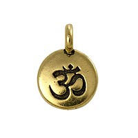TierraCast Om Charm with Loop 11.6mm Antique Gold Plated (1-Pc)