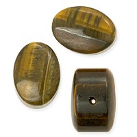 Tiger Eye Oval Tablet Bead 14mm (3-Pcs)