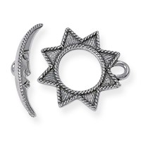 Toggle Clasp - Sun and Moon 17mm Pewter Silver Plated (Set)
