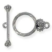 Toggle Clasp - Crown 15mm Pewter Antique Silver Plated (Set)