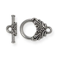Toggle Clasp - Flower 12mm Pewter Antique Silver Plated (1-Pc)
