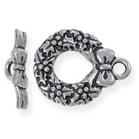Toggle Clasp - Wreath 17mm Pewter Antique Silver Plated (Set)