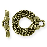 Toggle Clasp - Wreath 17mm Pewter Antique Brass Plated (Set)