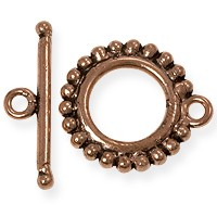 Toggle Clasp - Beaded Edge 19mm Copper  (1-Pc)