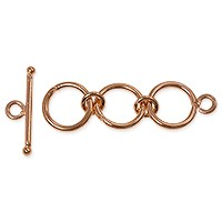Toggle Clasp - 3-Ring 12mm Copper (1-Pc)