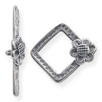 Toggle Clasp - Square with Flower 16mm Sterling Silver (Set)