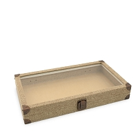 Glass Top Burlap Jewelry Storage Case