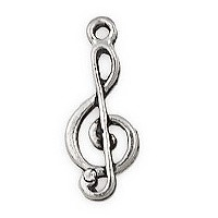 Treble Clef Connector Pewter Antique Silver Plated 18x7mm (1-Pc)